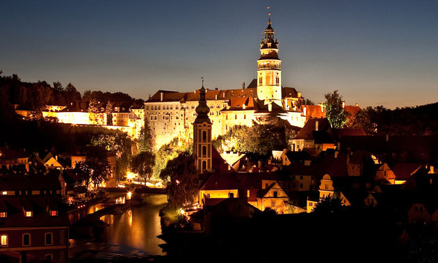 Cesky Krumlov Castle Tower at night
