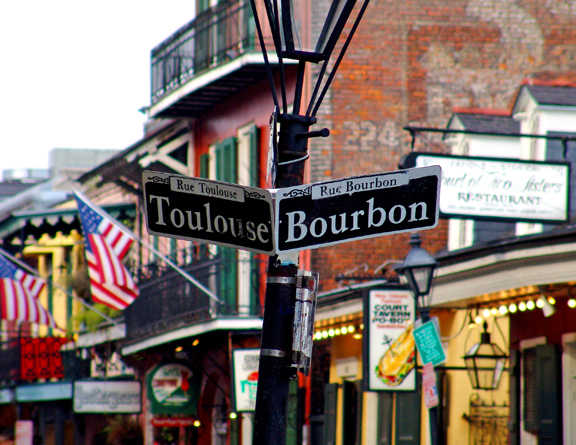 New Orleans the corner of Bourbon and Toulouse